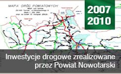 Baner prezentujący odnośnik do Inwestycje drogowe zrealizowane przez Powiat Nowotarski 2007-2010