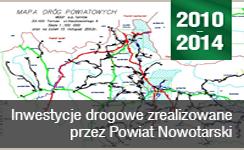 Baner prezentujący odnośnik do Inwestycje drogowe zrealizowane przez Powiat Nowotarski 2010-2014