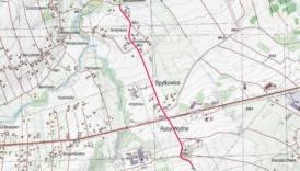 Mapa prezentująca zakres prac na drodze 1665K