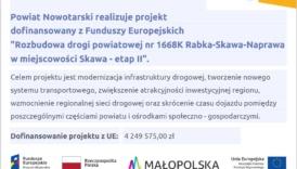 Czytaj więcej o: Rozbudowa drogi powiatowej nr 1668K Rabka – Skawa – Naprawa w miejscowości Skawa – etap II